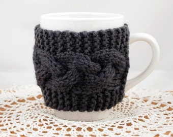 Charcoal Hand Knit Coffee Mug Cozy Cable
