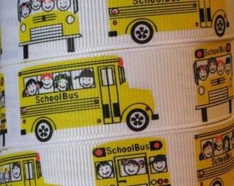 School Bus 7/8 Inch Grosgrain Ribbon 5 Yards
