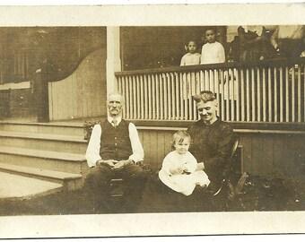 Vintage Children Photo Little Girls On Porch Watch Grandparents With Little Boy Vintage Victorian Photograph