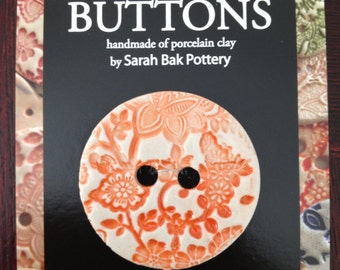 Extra large orange porcelain button