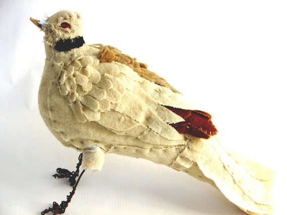 Reserved for RP Dove, Primitive Bird, Fabric Art
