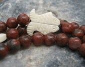 Red Sesame Jasper Mala - Prayer Beads - Buddhist Rosary - Red and Brown