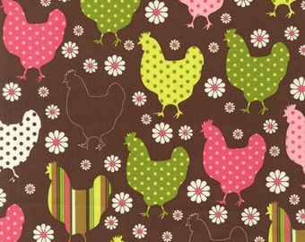 ORGANIC: Hens on Brown from the Chick Chick line by Nancy Mims for Robert Kaufman, 100% Organic Fabric in Bright