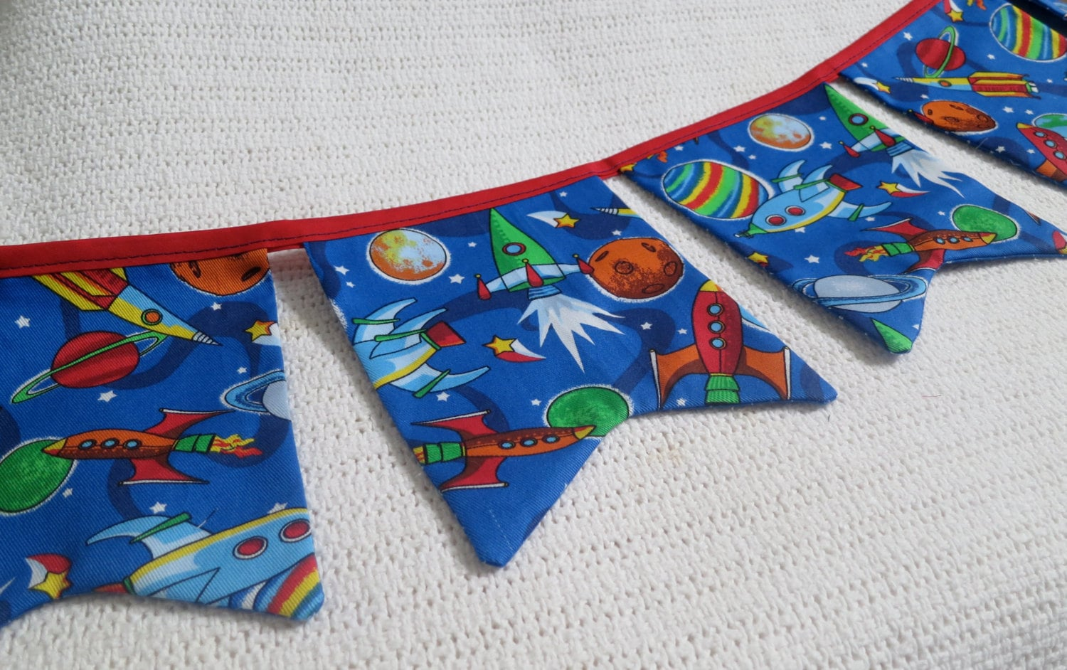 Outer space banner rocket ship bunting banner fabric for Rocket fabric