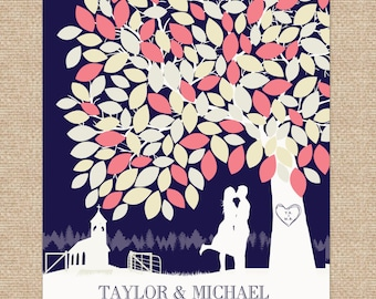 Wedding Signature Poster Art Print // Features Personalized Skyline & Silhouette // Guestbook Print // 175+ Signatures // W-T05-1PS HH3