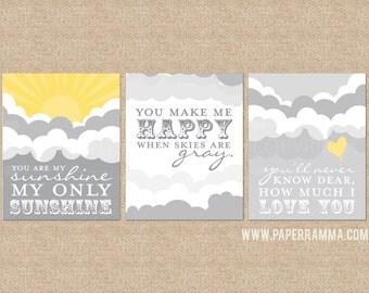 You are My Sunshine Art Prints, sunshine prints for Nursery / Kids Room // 3 Print Set // Sunshine and Clouds // N-G26-3PS AA1