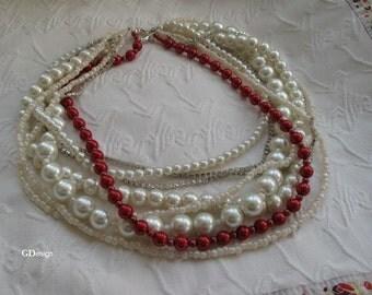 Bridal Necklace, Pearl Pendant, Ivory seed bead,  Bold Bridal, Handmade, chunky layered ,  rhinestone chain. Wedding ivory- dark red glass