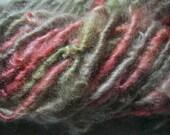 Handspun Hand Dyed Coopworth Wool Soft Bulky Lockspun Art Yarn in Pink Green Champagne Colors by KnoxFarmFiber for Knitting Crochet