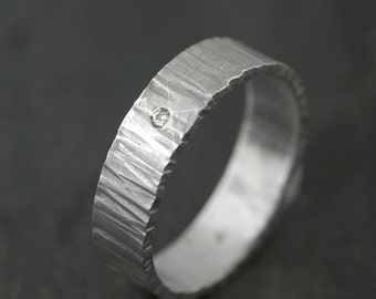 Hand Forged Ring  with White Diamond Silver Eco Friendly Metal