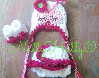 Crochet sleeping owl set  Hat With earflaps  diapercover  and boots  0  to 18 months