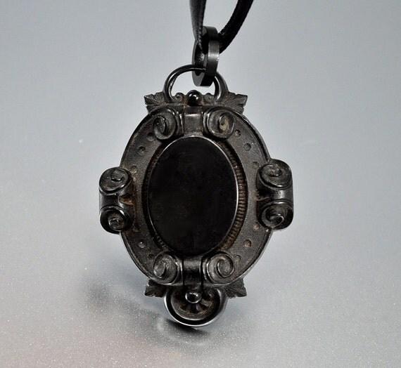 Gutta Percha Antique Locket Victorian Necklace Mourning Locket
