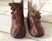 Vintage Baby  Boots - Leather - Button Style - 1920s - Edwardian - Victorian