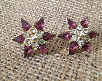 Vintage 1950s Pair of Amethyst - Clear Stones - GoldEarring with Screw Post Type Back - Wedding