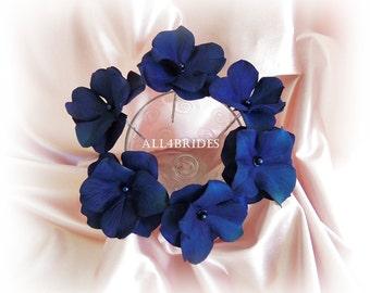 Navy Blue Hair Flowers, hydrangea hair pin set of six, bridal or bridesmaids wedding hair accessories