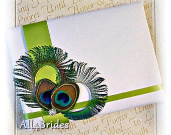 Peacock Weddings Guest Book - Lime Green and Peacock Feathers Wedding Decorations - Peacock Weddings Accessories - Paper Goods