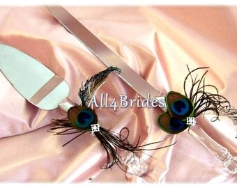 Peacock Feather Wedding Cake Knife & Server Set, peacock weeding accessories
