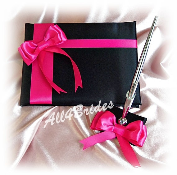 Hot pink and black wedding guest book and pen set Blak and