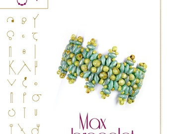 Jewelry pattern Bracelet  tutorial / pattern Max with superduo beads ..PDF instruction for personal use only
