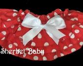 Sassy Pants Ruffle Diaper Cover Bloomer Red and White Polka Dots