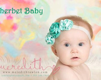 Rolled Ribbon Rose Headband Match up to Sassy Pants Ruffled Diaper Cover Bloomers