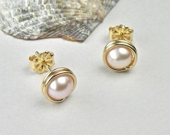 Pink Pearl Gold Stud Earrings, 14K Gold-filled Pearl Posts, Modern, June Birthstone