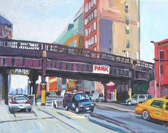 The High Line New York Art NYC Art Wall Decor High Line Overpass New York Park Fine Art 8x10 New York Painting Cityscape by Gwen Meyerson