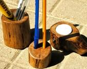 Oak wood pen and pencil holder desk set with tea light candle and holder