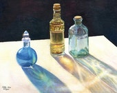 Glass Bottles in Sun art watercolor painting print by Cathy HIllegas, 8x10, watercolor print, still life, watercolor bottles, blue gold teal
