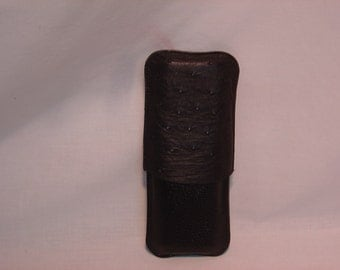 Cigar case made of American Ostrich and leather