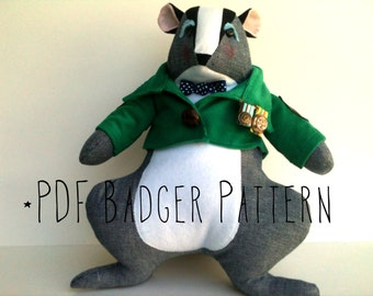 Stuffed Animal Badger with Jacket PDF Sewing Pattern