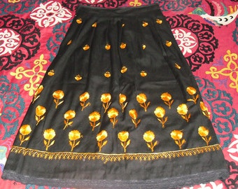 Vintage Hand Embroidered Pleated A Line Skirt Golden Marigold Flowers on Black Wool Sz 10 to 12