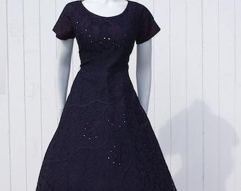 Vintage 1950's Lace Blue Purple Dress * Applique Rhinestones * Evanna Fashions * Cocktail Dress