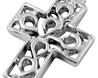 12 Brighten Filigree Cross Charms, Antique Silver, 4890as