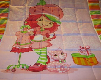 Handmade Strawberry Shortcake In Her Berry Bitty Boutique Cotton Baby/Toddler Quilt-Made 2015