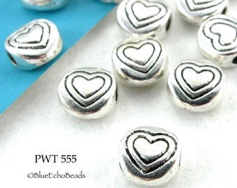 Small 6mm Pewter Heart Beads Mini Heart Silver Tone (PWT 555) 15 pcs BlueEchoBeads
