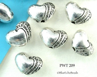 9mm Small Heart Beads Pewter Heart with Stripes (PWT 209) 15 pcs BlueEchoBeads