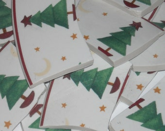 Christmas Trees, Stars, and Moons Hand Cuts Tiles for Mosaics SEP102