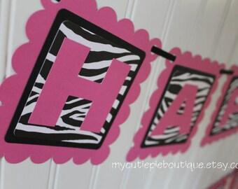 Pink Zebra Print Happy Birthday Party Banner, Zebra Print Banner, Pink and Black Birthday Banner