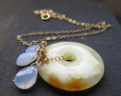 ON SALE Summer sorbet necklace, serpentine and chalcedony