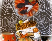 Pin Up Girl Witch Fake Cupcake Vintage Image and Trick or Treat Sign Orange and Black Chevron Wrapper Cute Halloween Decor or Hostess Gift
