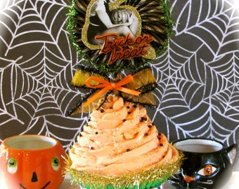 Pin Up Girl Witch Fake Cupcake Vintage Image and Trick or Treat Sign Orange Black Striped Wrapper Cute Halloween Decor or Hostess Gift