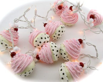 Fake Cupcake Pink Rockabilly String of Lights 12 Legs Orignal Concept Design 10 Mini Pink Fake Cupcakes Fab Bakery Decor First on Etsy