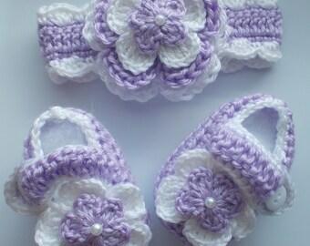 Crochet Baby Girl Handmade,Headband, Booties,  photo prop, infant, kids 10004 MADE TO ORDER