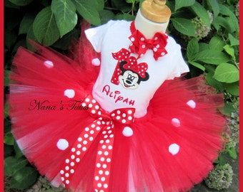 3 pc, Red Minnie with Number,Party Outfit,Theme Party,Tutu Set  in Sizes 1yr thru 5yrs