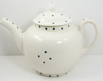 SALE! White Teapot with Green Polka Dots (Sale 50%off, Coupon Code: SALE50)