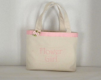 Ivory Gracie  Size Monogrammed, Personalized Tote, Flower Girl, Bridesmaids, Wedding, Birthday, Shower gift, Bag