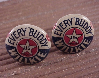 Willkie Cuff Links - Vintage Political Campaign Buttons - Free Shipping to USA