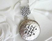 Celtic Knot Necklace, Celtic Knot Pendant, Irish Knot Locket, Silver Locket Necklace, Ladies Lockets, Celtic Jewelry, Irish Jewelry