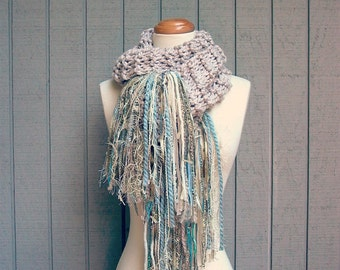 serenity. handknit chunky scarf art yarn fringe scarf warm winter wool knit scarf shabby beach cottage chic shawl wrap ecru sand aqua blue