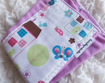 Baby burp cloth birds and houses on pink spring blossom hand dyed burp cloth